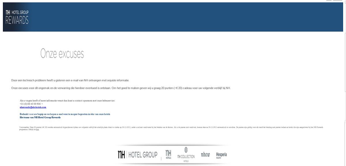 Excuses van NH Hotel Group